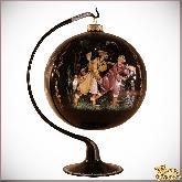 Ёлочный шар ручной работы на подставке Охота1 в стиле палех