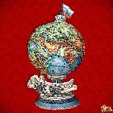 Фарфоровый штоф Глобус (цветной с золотом)