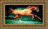 Конь 70*120 Панно гобелен, двойной багет