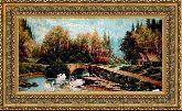 Лесной мостик 70*120 Панно гобелен, двойной багет