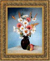 Луговые цветы 50*65 Панно гобелен, двойной багет