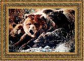 Медвежье семейство 70*100 Панно гобелен, двойной багет