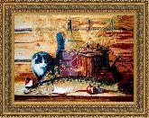 Натюрморт с котом 50*65 Панно гобелен, двойной багет