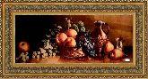 Натюрморт с персиком 50*100 Панно гобелен, двойной багет