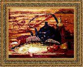 Натюрморт с рыбой 50*65 Панно гобелен, двойной багет