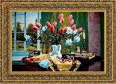 Натюрморт с тюльпанами 70*100 Панно гобелен, двойной багет