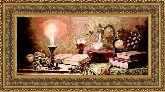 Натюрморт со свечой 50*150 Панно гобелен, двойной багет