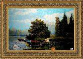 Озеро 70*100 Панно гобелен, двойной багет