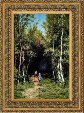 Прогулка в лесу 70*100 Панно гобелен, двойной багет