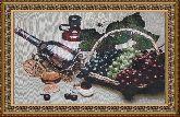 Виноград в корзине 58*80 Панно гобелен, двойной багет
