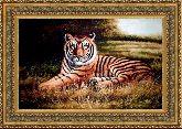 Тигр 50*65 Панно гобелен, двойной багет