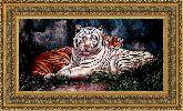 Тигр альбинос 35*50 Панно гобелен, двойной багет