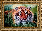 Тигр в зарослях 70*100 Панно гобелен, двойной багет