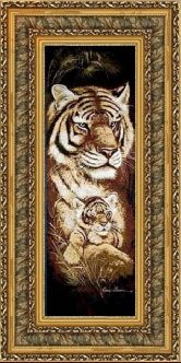 Тигрица с тигренком 50*100 Панно гобелен, двойной багет