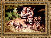 Тигры на отдыхе 70*100 Панно гобелен, двойной багет