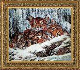Тигрята 60*90 Панно гобелен, двойной багет