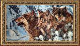 Волки в лесу 60*110 Панно гобелен, двойной багет