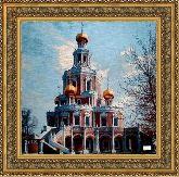 Храм в Подмосковье 70*70 Панно гобелен, двойной багет