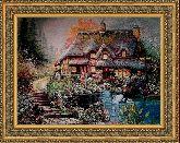 Цветочная страна 50*65 Панно гобелен, двойной багет