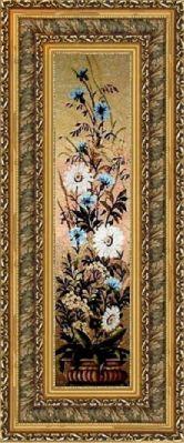 Цветы в вазе 35*135 Панно гобелен, двойной багет