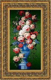 Цветы на зеленом 70*100 Панно гобелен, двойной багет
