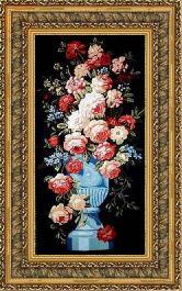 Цветы на темном 70*100 Панно гобелен, двойной багет
