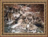 Волчата 50*65 Панно гобелен, двойной багет