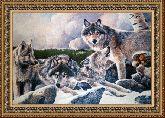 Волчье логово 70*110 Панно гобелен, двойной багет