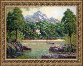 Горное озеро 70*110 Панно гобелен, двойной багет