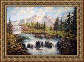 Горный водопад 70*110 Панно гобелен, двойной багет