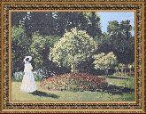 Дама в саду 50*65 Панно гобелен, двойной багет