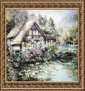 Дом с мостом 60*75 Панно гобелен, двойной багет