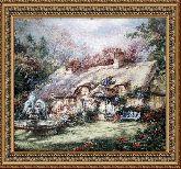 Дом с фонтаном 60*75 Панно гобелен, двойной багет