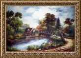 Дом у озера 70*100 Панно гобелен, двойной багет