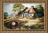 Домик в деревне 70*110 Панно гобелен, двойной багет