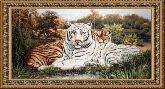 Белый тигр 70*150 панно гобелен, двойной багет