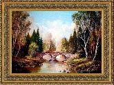 Каменный мостик 50*65 Панно гобелен, двойной багет