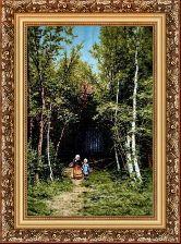 Прогулка в лесу 70*100 Панно гобелен, багет 3016.5