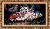 Тигр альбинос 70*120 Панно гобелен, багет 3016.5