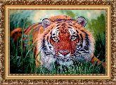 Тигр в зарослях 70*100 Панно гобелен, багет 3016.5