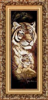 Тигрица с тигренком 50*100 Панно гобелен, багет 3016.5