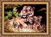 Тигры на отдыхе 70*100 Панно гобелен, багет 3016.5