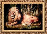 Царь зверей 70*100 Панно гобелен, багет 3016.5