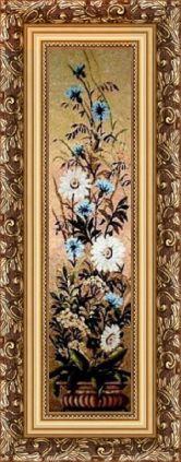 Цветы в вазе 35*147 Панно гобелен, багет 3016.5