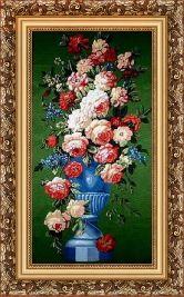 Цветы на зеленом 70*100 Панно гобелен, багет 3016.5