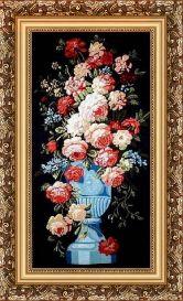 Цветы на темном 70*100 Панно гобелен, багет 3016.5