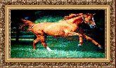 Конь 70*120 Панно гобелен, багет 3016.5
