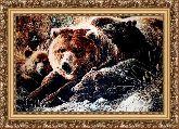 Медвежье семейство 70*100 Панно гобелен, багет 3016.5
