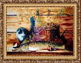 Натюрморт с котом 50*65 Панно гобелен, багет 3016.5