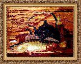 Натюрморт с рыбой 50*65 Панно гобелен, багет 3016.5